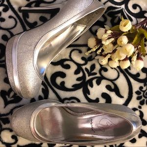 Baby Phat Silver Glitter Party Pumps